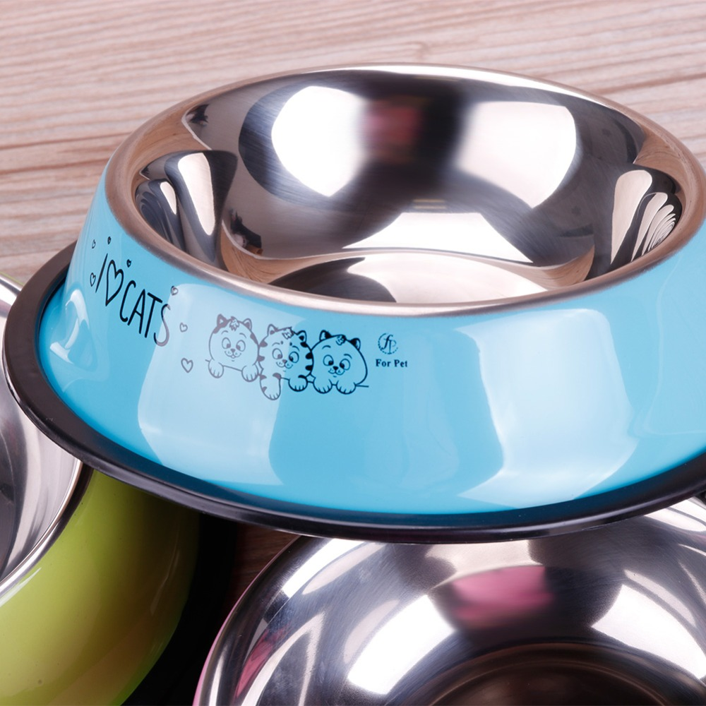 Lovely Pet 3 Colors Stainless Steel Dog Bowl Food Water Drink Dishes Feeder For Cat Puppy Dog #261535 #5