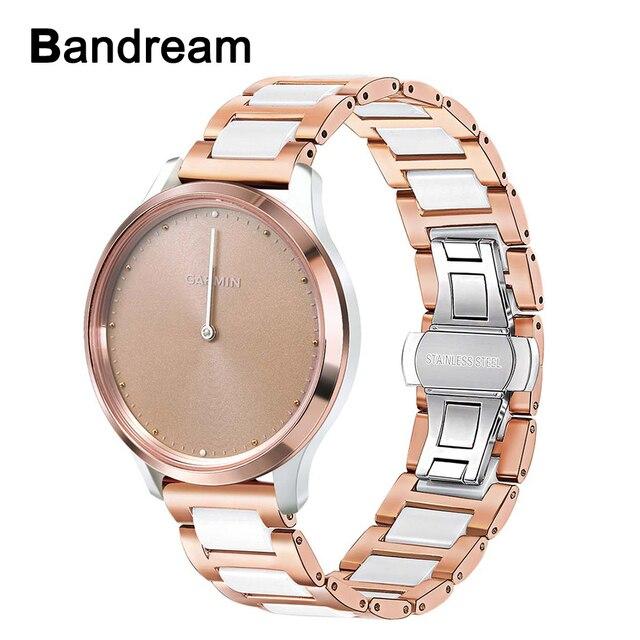 Cerâmica + pulseira de aço inoxidável para garmin vivomove hr 3 3 s/vivoactive 4 4S/venu luxe estilo liberação rápida pulseira relógio