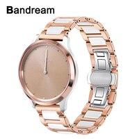 Keramik + Stainless Steel Watchband untuk Garmin Vivomove/Vivomove HR Rilis Cepat Watch Band Wrist Strap Gelang Mawar Emas