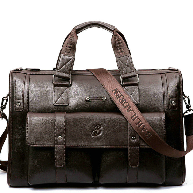 Men Leather Black Briefcase Business Handbag