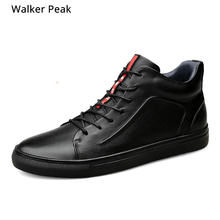 Size 36-48 Winter Pluche Retro Mens Enkellaarsjes Comfortabele Merk Casual Schoenen Echt Leer Snowboots Warme schoenen walkerpeak(China)