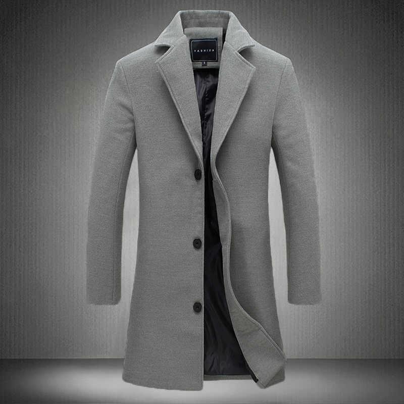 2019 Зима Новая мода мужские однотонные однобортные длинные тренчи/мужские повседневные тонкие длинные шерстяные пальто большого размера 5XL