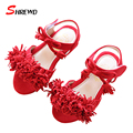 Girls Shoes Sandals New 2017 Spring Casual Fringed Kids Girl Sandals Solid Simple Children Shoes Insole 16-18.7cm 9604W