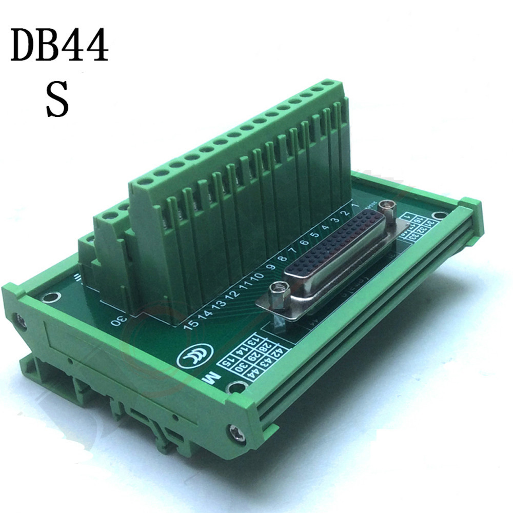 DB44 male / female  terminal block breakout board  D Sub Connectors DIN RailDB44 male / female  terminal block breakout board  D Sub Connectors DIN Rail