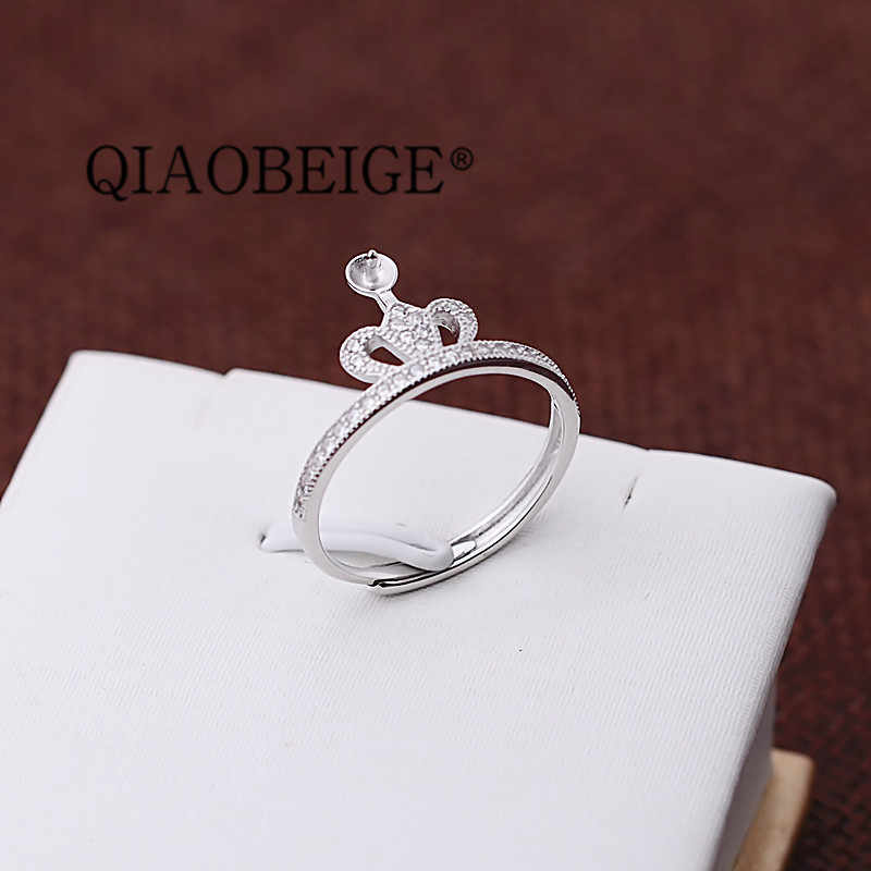 QIAOBEIGE Adjustable Ring 100% Genuine 925 Sterling Silver Wide  Open Rings for Women Fine Jewelry findings components