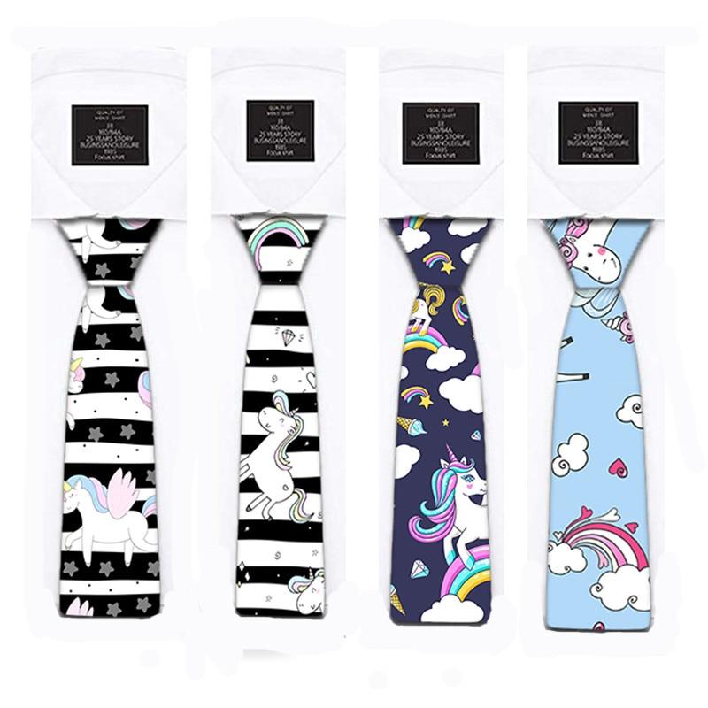 Classic Fashion Silk Men's Unicorn Tie Printing Festival Printed Ties 8cm Slim Neck Tie Skinny Necktie For Wedding Party 5S-LD02