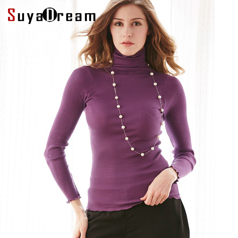 90 natural silk 10 cotton women pullovers turtleneck rib for Long sweaters and shirts