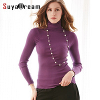 90 Natural Silk 10 Cotton Women Pullovers Turtleneck Rib Knit Shirt Long Sleeve Solid Sweater Basic