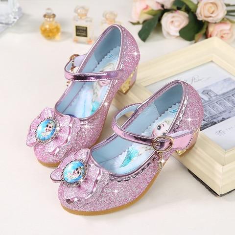 disney congelado princesa criancas sapatos de couro para meninas flor casual glitter criancas salto alto