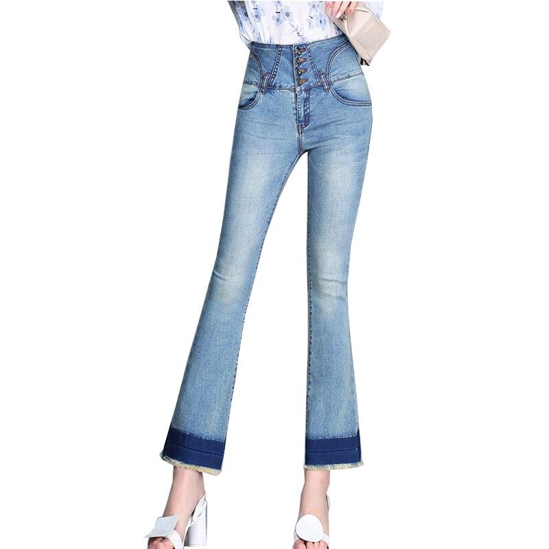 {Guoran} Loose Flare jeans pants for women 2017 new High waist plus size ladies denim jeans trousers Boy friend style female plus size pants the spring new jeans pants suspenders ladies denim trousers elastic braces bib overalls for women dungarees