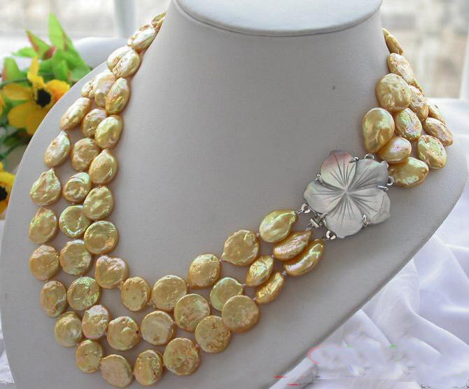 New Arriver Real Pearl Jewellery,AAA 10mm 3 Rows Golden Coin Freshwater Cultured Pearls Necklace,Free Shipping. недорого