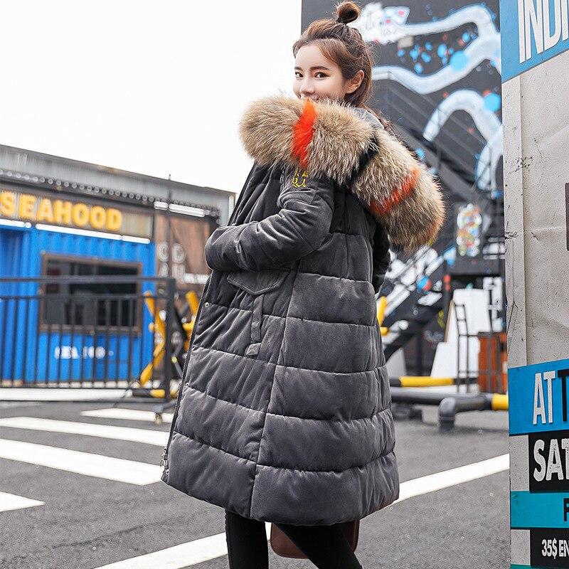 Fourrure Beige noir Veste Snowear marron rose gris navy Mince Femelle Nouveau D'hiver Outwear Manteau Femmes À Coloré De Capuchon Chaud Grand Long Parkas Mode Daim En 2018 Down Épais SFqg4E
