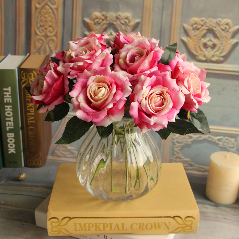 High simulation short branched artificial peony bouquet silk flannel rose flower for home decoration table decoration flowers