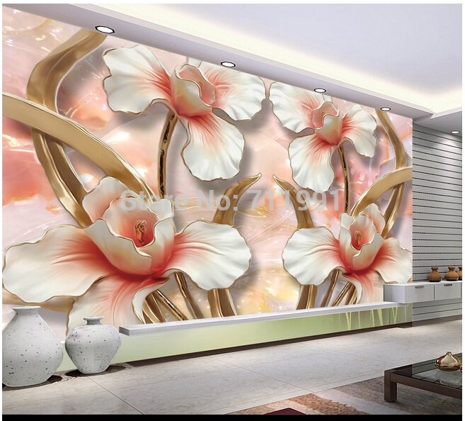 Custom large modern mural painting three-dimensional relief flower 3D TV setting wall wallpaper канделябр венецианский stilars канделябр венецианский
