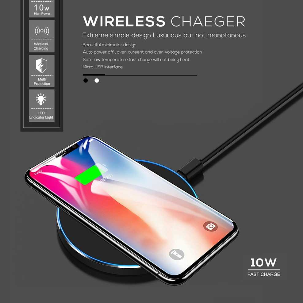 8c5bff28085 ... Fdgao 10 W Qi cargador inalámbrico para iPhone XS Max XR 8X8 Samsung  S10 S9 S8 ...