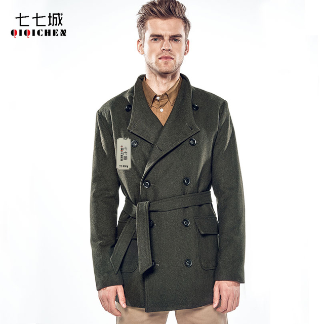Mens wool coat with belt