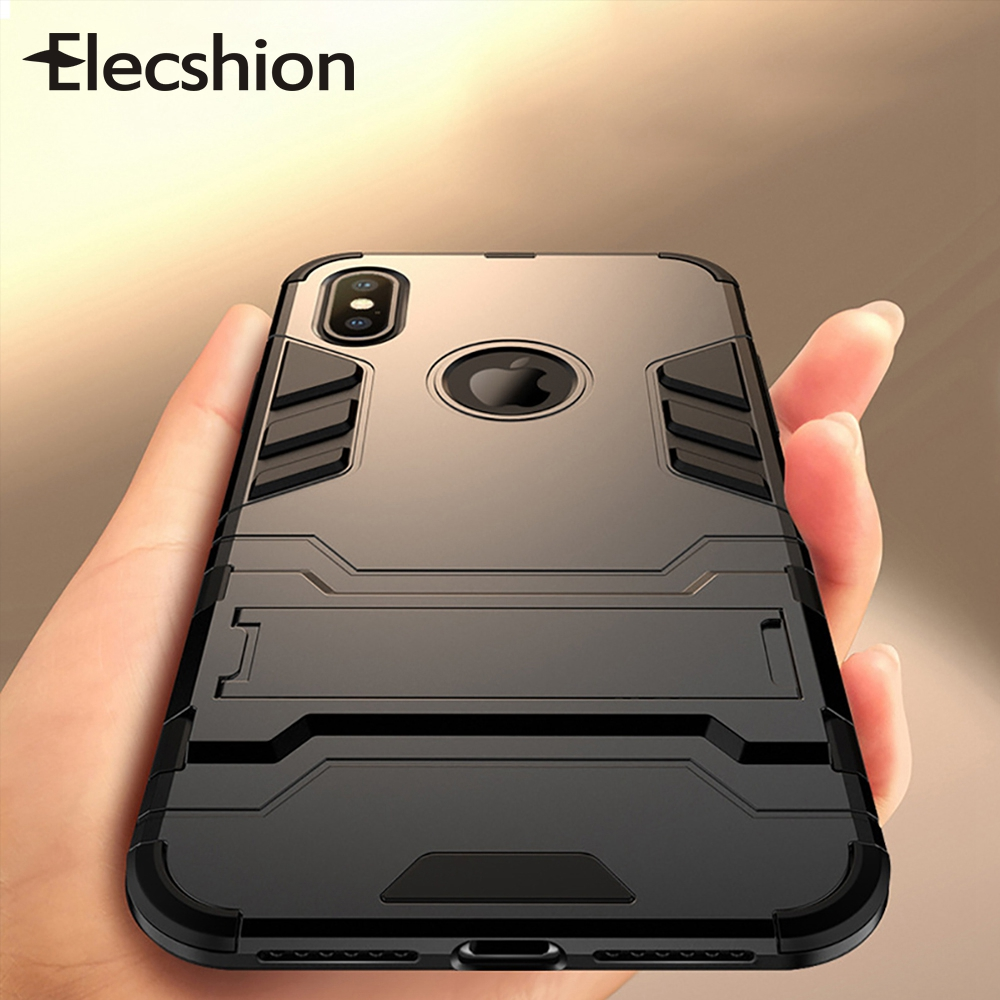 Shockproof Armor Cases For Iphone Xr Case Phone Bumper Luxury Holder Stand TPU Coque For Iphone Se 5 6 6s 7 8 X Plus Hard Covers in Half wrapped Cases from Cellphones Telecommunications