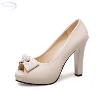 Chainingyee sweet sexy peep toe summer sandals rhinestone bowknot slip on white beige pink thick high heels women's shoes