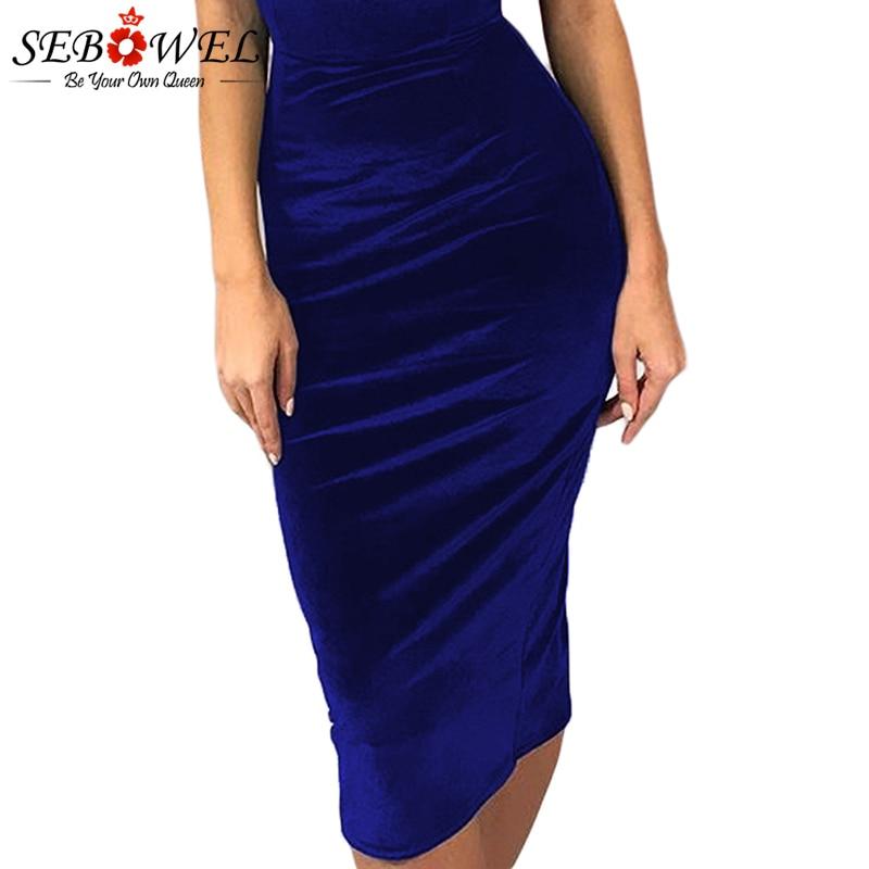 Blue-Off-Shoulder-Ruched-Velvet-Party-Dress-LC610980-5-3