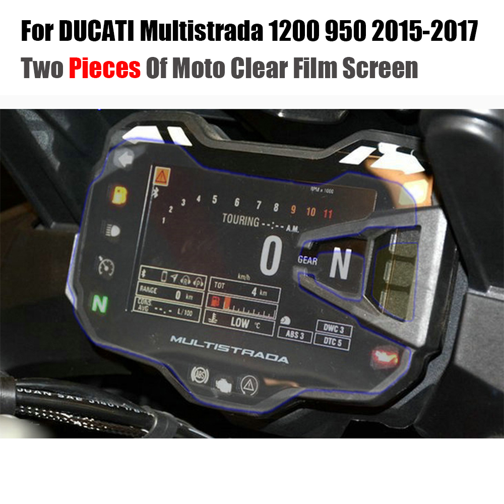JMCRider Two Piece In One Parcel For DUCATI Multistrada 1200 950 2015 2016 2017 Cluster Scratch Protection Film Screen Protector