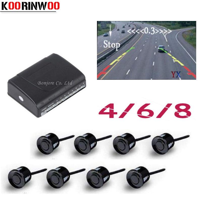 Koorinwoo 2018 Parktronics sensores de aparcamiento de coche 8/6/4 radares detector de sonda de alarma RCA sistema de vídeo muestra asistencia de imagen de distancia