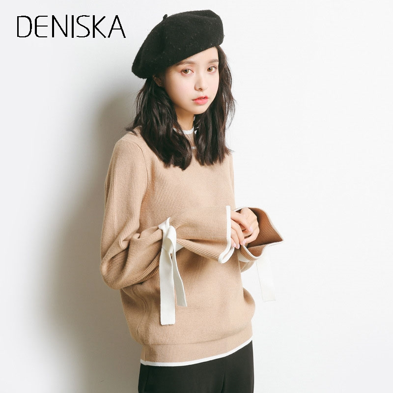 DENISKA 2018 Women Loose Sweater Jumpers Casual Autumn Winter Pullover And Sweaters Low O-neck Sexy Bow Sleeve Knitted Christma
