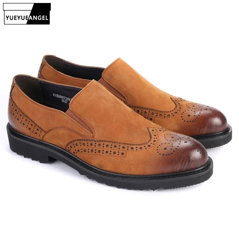2019 New Fashion Genuine Leather Mens Slip On Pointed Toe Male Formal Shoes Wing Tip British Style Brogue Shoes Footwear Brown2019 New Fashion Genuine Leather Mens Slip On Pointed Toe Male Formal Shoes Wing Tip British Style Brogue Shoes Footwear Brown