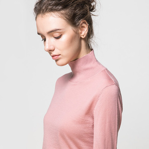Image 2 - 여성 양모 풀오버 100% 울 스웨터 여성용 터틀넥 플랫 니트 2019 가을 겨울 bottoming 스웨터