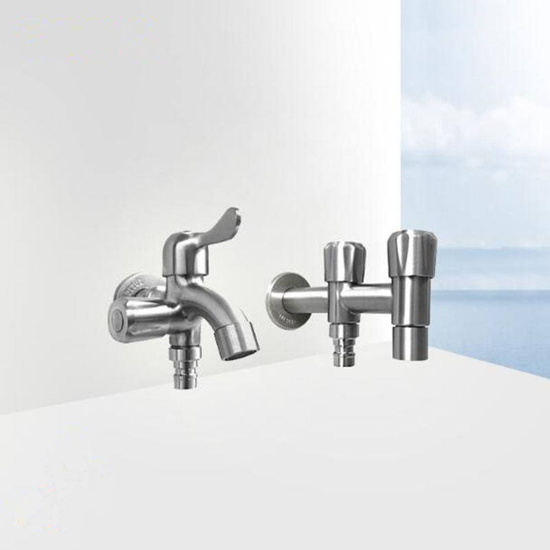 Double switch stainless steel bathroom faucet with 2 ...