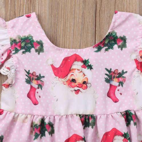 FOCUSNORM แบรนด์เด็กทารก Xmas ชุดการ์ตูน Santa พิมพ์ลูกไม้ Party เสื้อผ้าชิงช้าเจ้าหญิงซิปจุดใหม่