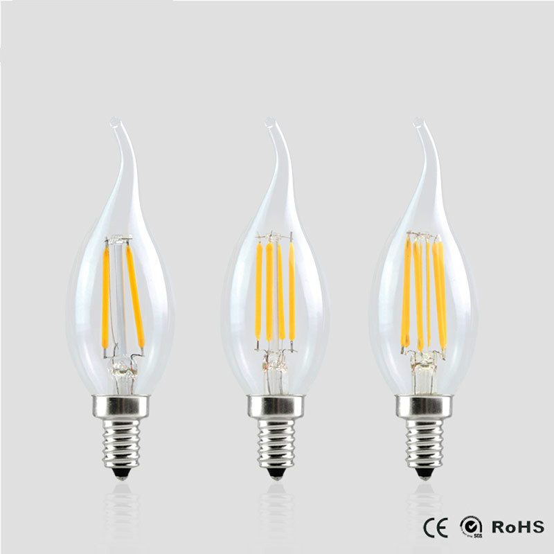 E14 led Filament Dimmable Bulb Lamp 2W 4W 6W 220V LED COB light Candle lampada led Retro Crystal For Chandeliers 1x new design led filament e14 bulb dmimable 2w 4w 6w ac 220v 230v lamp edison glass candle lights lighting for chandelier