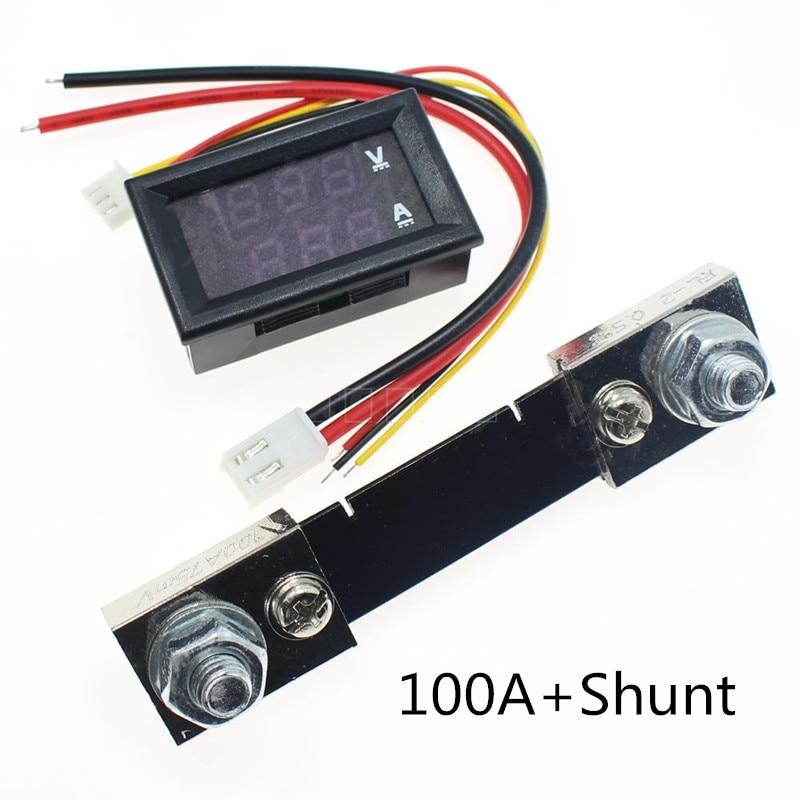 Цифровой светодиодный мини-Вольтметр Амперметр 0,28 дюйма постоянного тока 100 в 50 а Вольт Амперметр индикатор напряжения тестер с шунтом