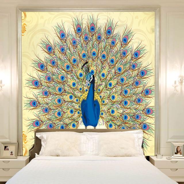 Beibehang l\'intérieur décoration de la maison de mode paon papier ...