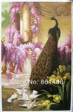 Free shipping A Peacock and Doves in a Garden by Eugene Bidau