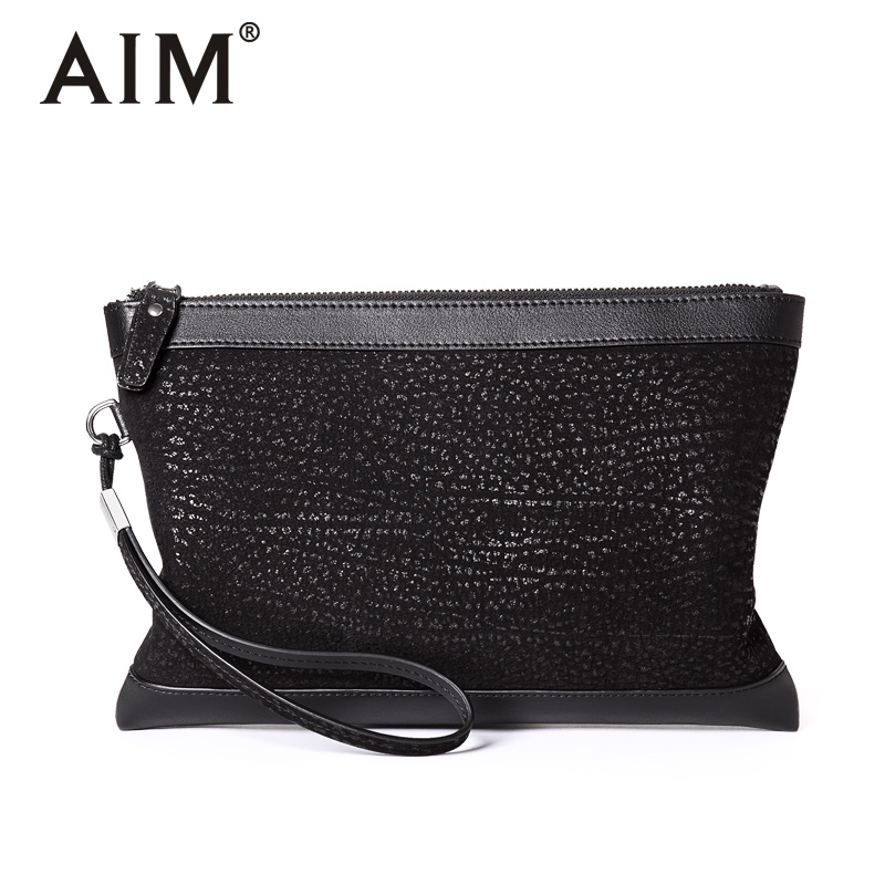 цены AIM NEW Large Capacity Men Clutch Wallets Brand Genuine Leather Handy Bag Men Black Wristlet Wallet Zipper Card Holder S012