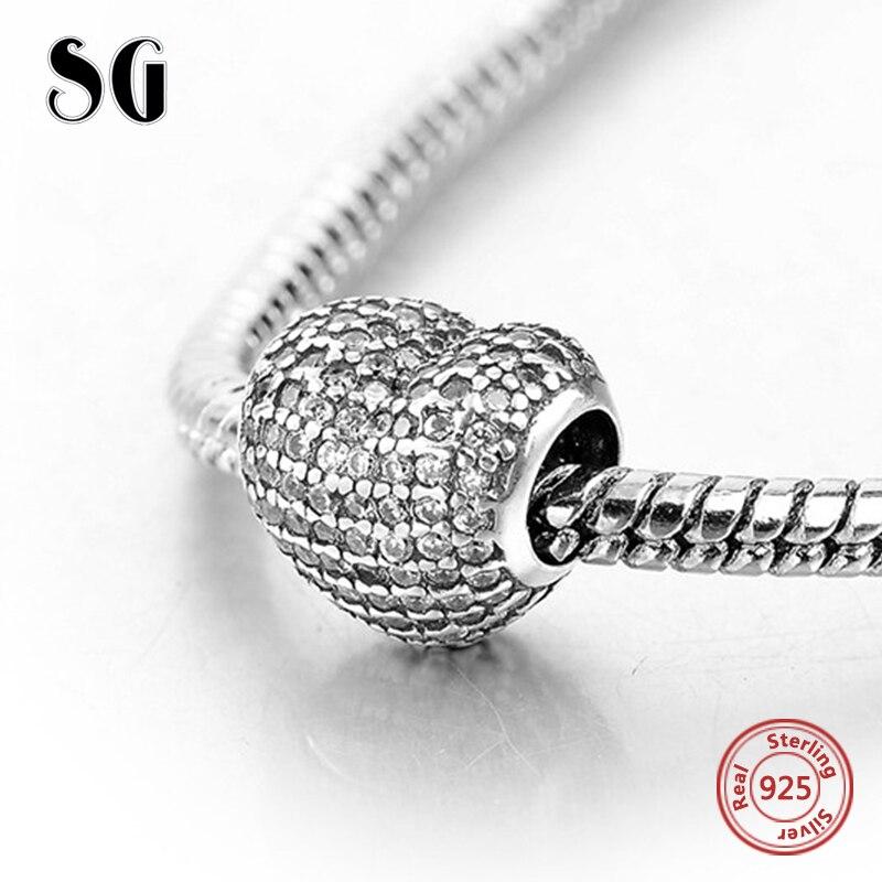 Clair CZ berloques par pulsera perles fit pandora charm argent 925 d'origine Bracelet pendentif De Luxe DIY Bijoux Cadeaux femmes