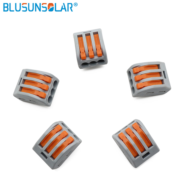 factory price 500 piece push type terminal blocks electrical wiring harness  connector plug wago222-413 series 3 holes