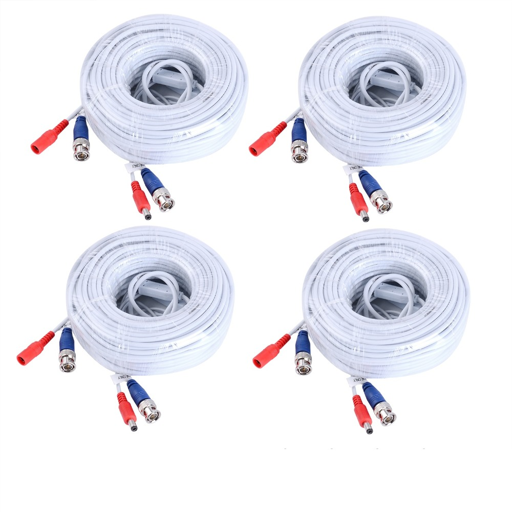 ANNKE 4PCS a Lot 30M 100 Feet BNC Video Power Cable For CCTV AHD Camera DVR Security System white Surveillance Accessories mool 100 feet pre made siamese bnc video and power cable ready to go for security camera cctv systems
