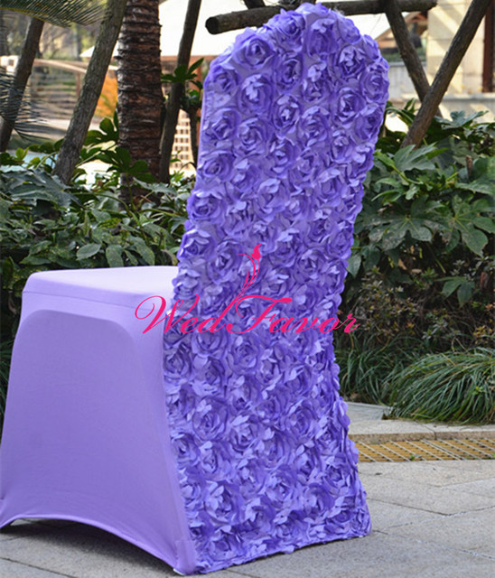 WedFavor 100pcs Luxury Lavender Polyester Spandex Rosette Chair Covers  Lycra Rose Flower Chair Cover For Banquet
