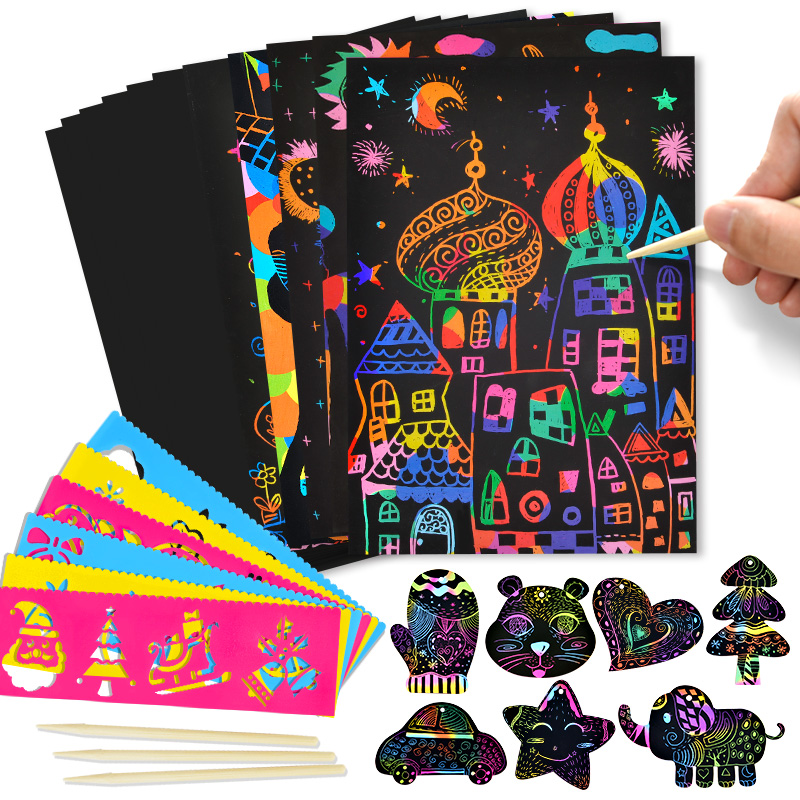 50PCS 20*14cm Scratch Art Paper Magic Painting Paper With Drawing Stick Toy Creative Colorful Drawing Toy Gift For Kids