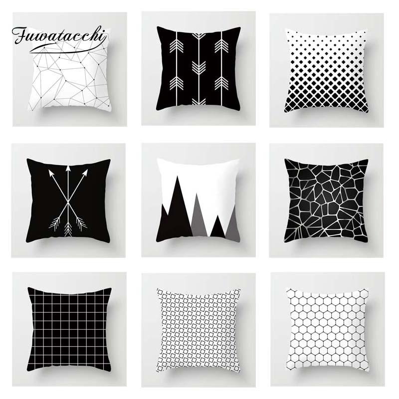 Fuwatacchi Geometric Cushion Cover Black White Dot  Soft Throw Pillow Decorative Sofa Case Pillowcase