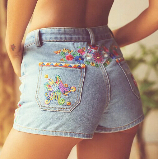 New 2016 Summer Heavy Embroidery Denim Shorts Female Short Jeans Ladies Hot Shorts Pantalon Corto