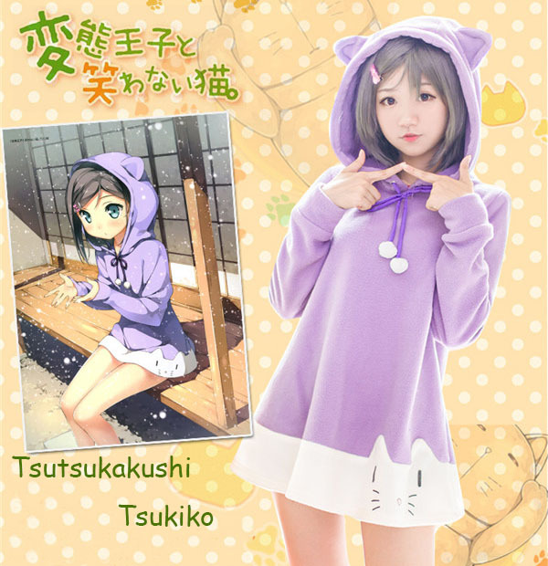 The HENTAI prince and the stony cat Tsutsukakushi tsukiko sweet pajamas Costumes for women Anime Cosplay