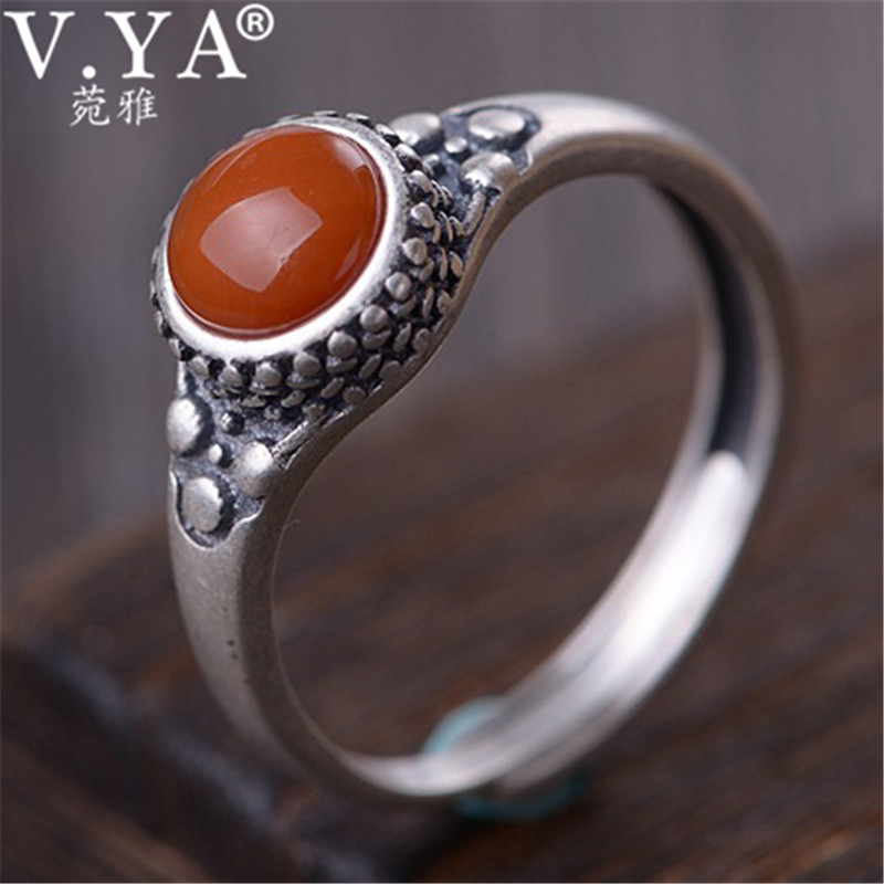 V.YA Natural Red Stone Ring 925 Sterling Silver Female Rings Adjustable Size Silver Jewelry For Women Ladies