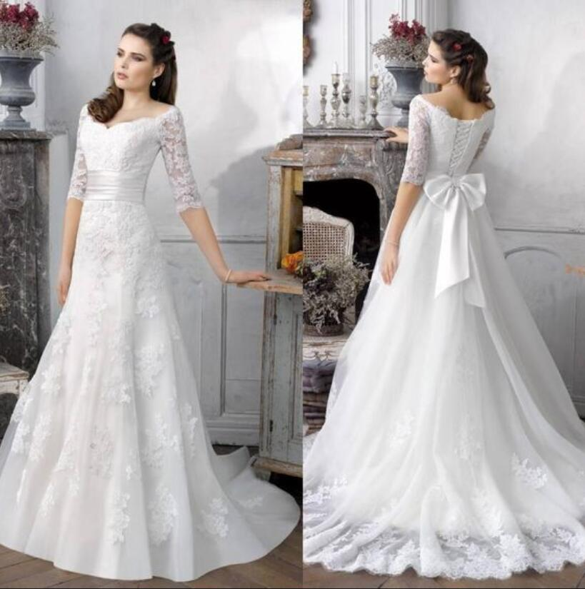Beaded Wedding Dress With Detachable Train: Trumpet Beaded Lace Appliques 2 In 1 Wedding Dresses