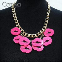 Vintage New Arrivals Acrylic Lip Charms Pendant Necklace Cute Golden Plated Sexy Pink Lips Charm Necklaces