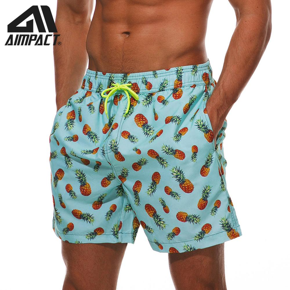 AIMPACT Men's Swim Trunks Quick Dry 3D Printed Pineapple Beach   Board     Shorts   with Pocket Holiday Swimming Bathing Suit AM2204