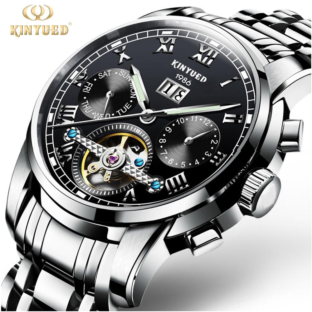 2017 Kinyued Skeleton Tourbillon Reloj mecánico Correa de acero - Relojes para hombres - foto 2