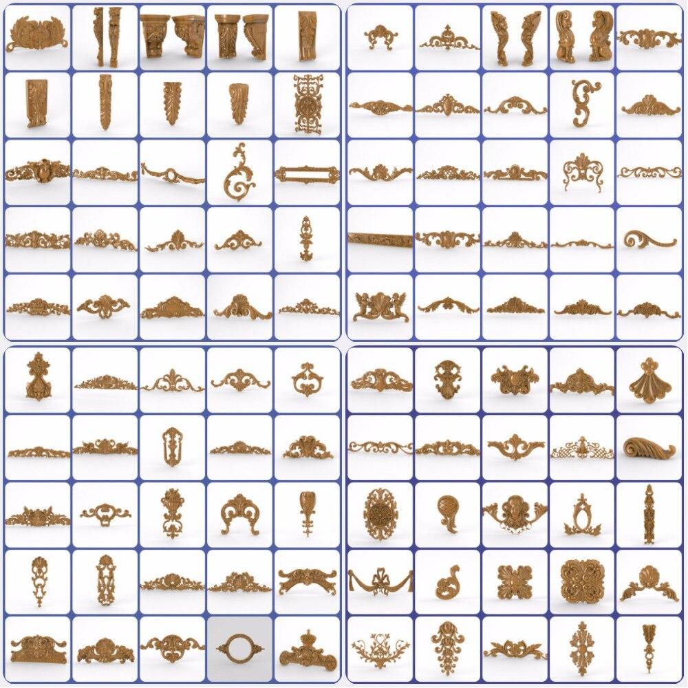 100 Pieces 3d STL Furniture Decor Decoration Collection For CNC Router Engraver Machine Relief Artcam