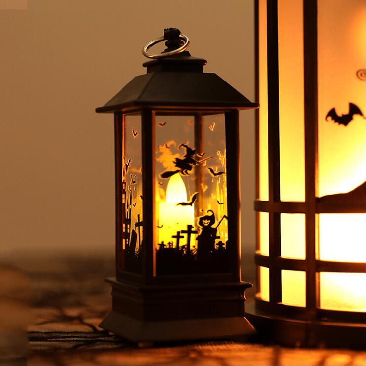 Halloween Gifts 2019 Halloween Vintage Pumpkin Castle Light Lamp Party Hanging Decor LED Lantern Party Supplies Hanging Lantern